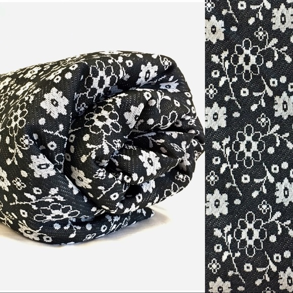 Yards(5) White Flower Black Polyester Knit Fabric